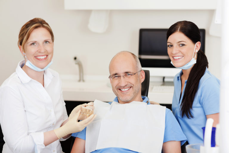 Man ready for his teeth to be checked