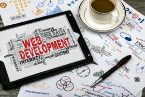 Web development information with coffee and pen