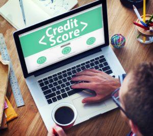 Credit score on a laptop