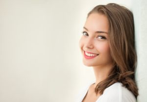 Woman smiling with her clean teeth