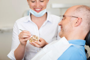 Man having a dental implant