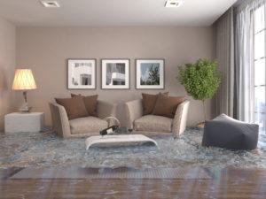 Flooded living room