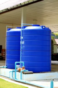 Blue plastic water tank