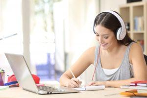 a girl taking an online class