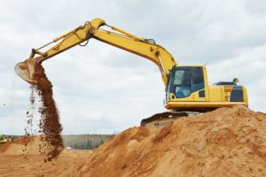 excavator machine at an excavation area