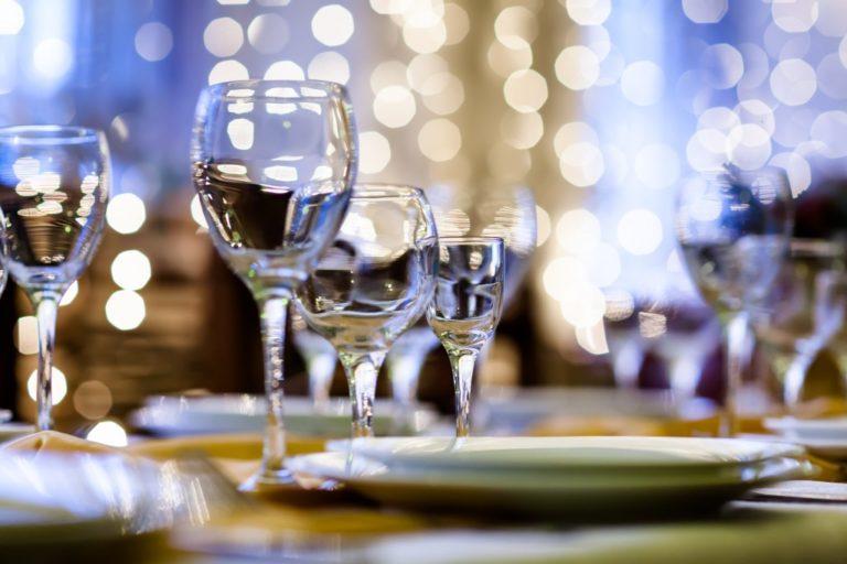 wine glasses and plate setup
