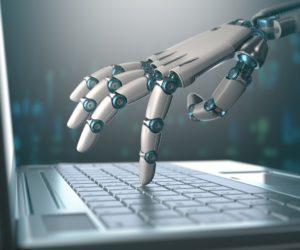 Robotic hand accessing laptop