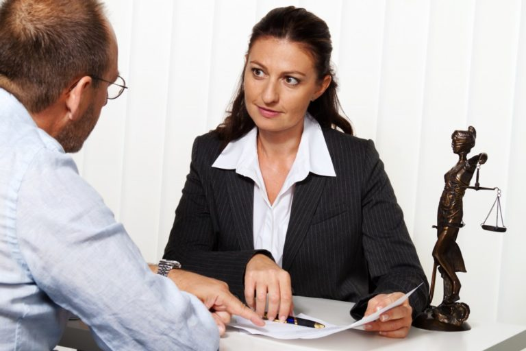 Man consulting a lawyer