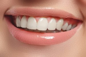Close-up photo of a natural white teeth