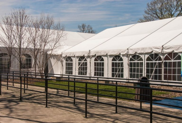 Clearspan party tent shot from outside
