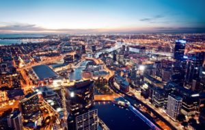 Aerial shot of Melbourne at night