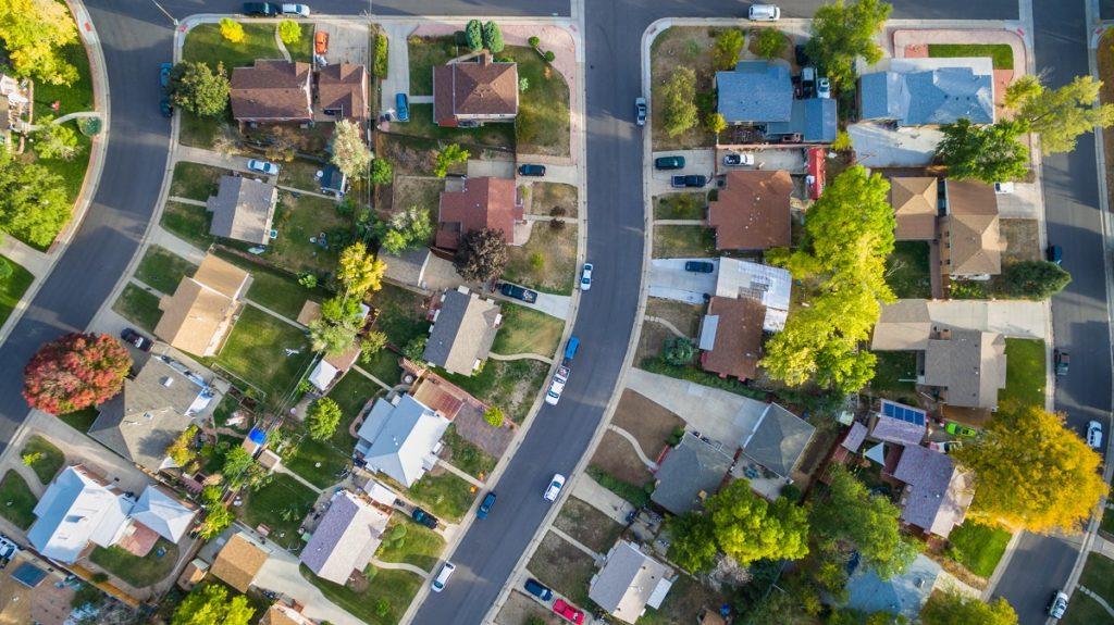 Aerial view of the neighborhood