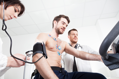 Man checking his heart beat