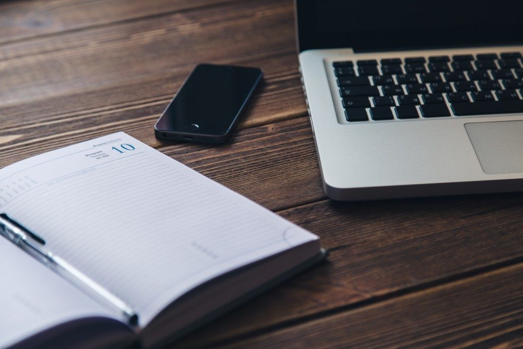Planner, Phone, Laptop