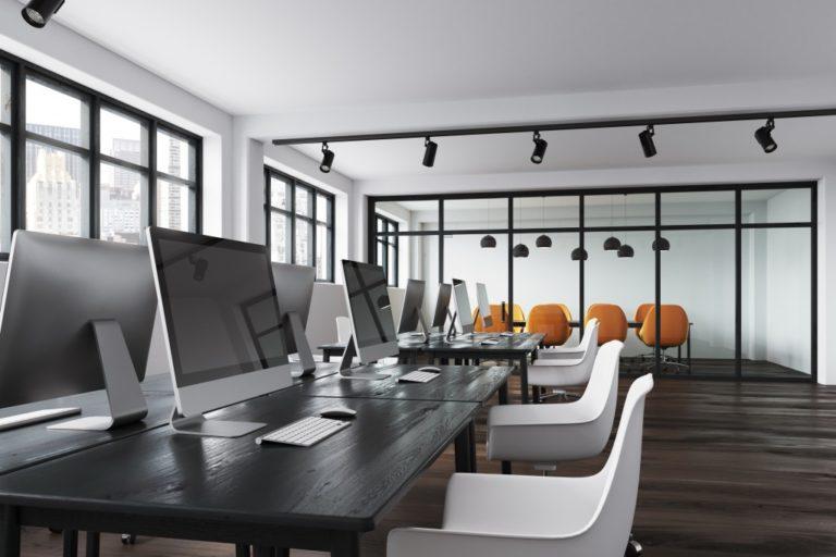 modern design of office work space