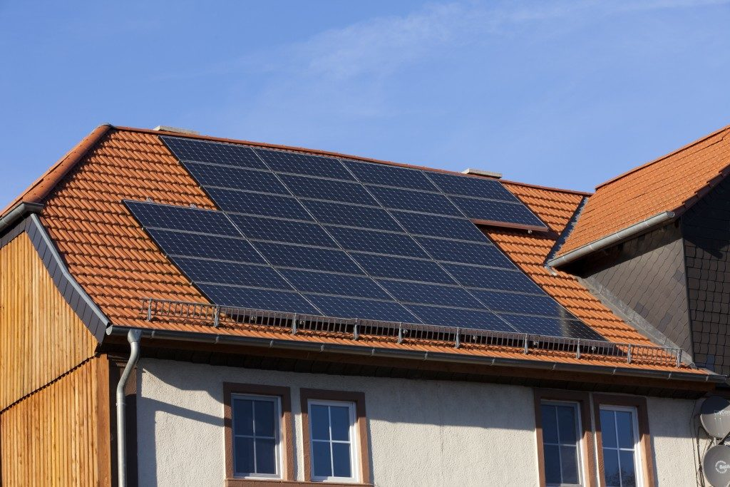 Solar panels on a tiled roof