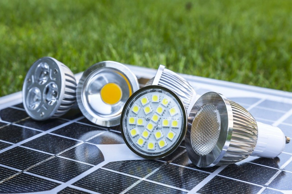 Outdoor led light on a solar panel