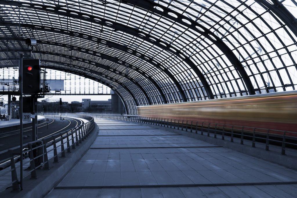Dim train station