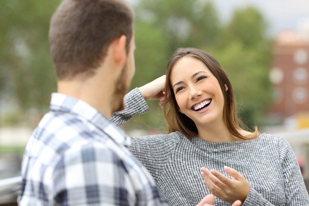 couple talking outside