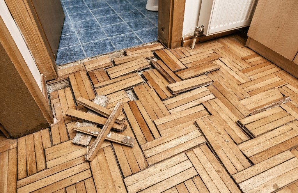 Wood tiles for flooring after a flood