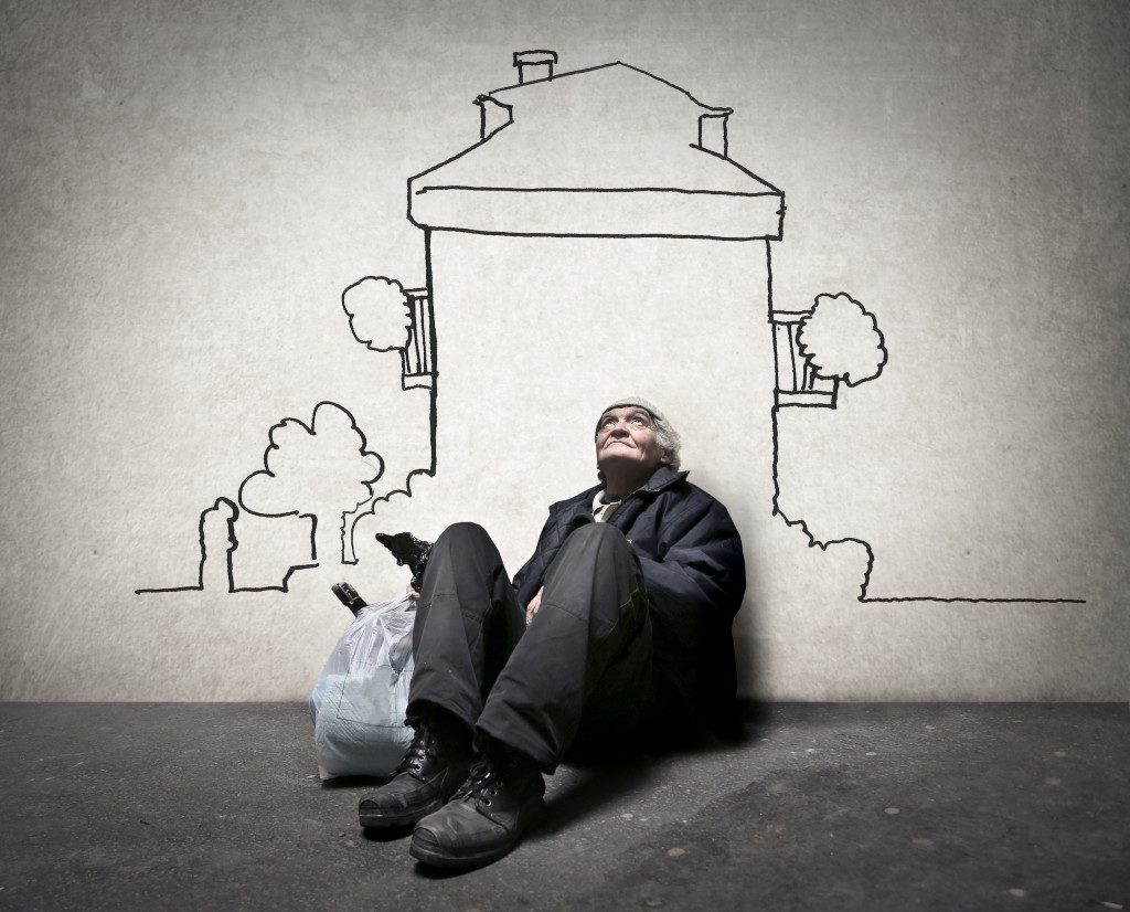 homeless man under a house illustation