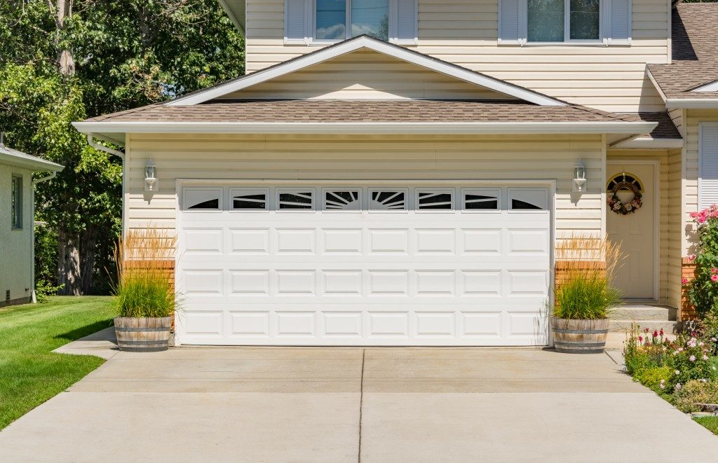 garage with a closed door