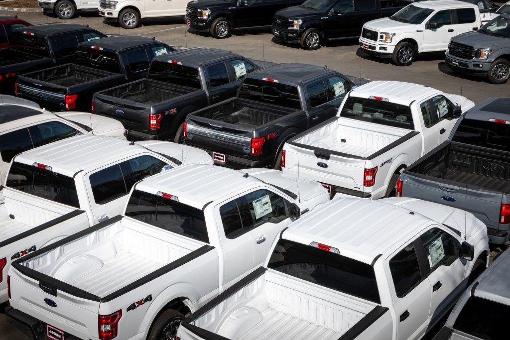 black and white pickup trucks parked