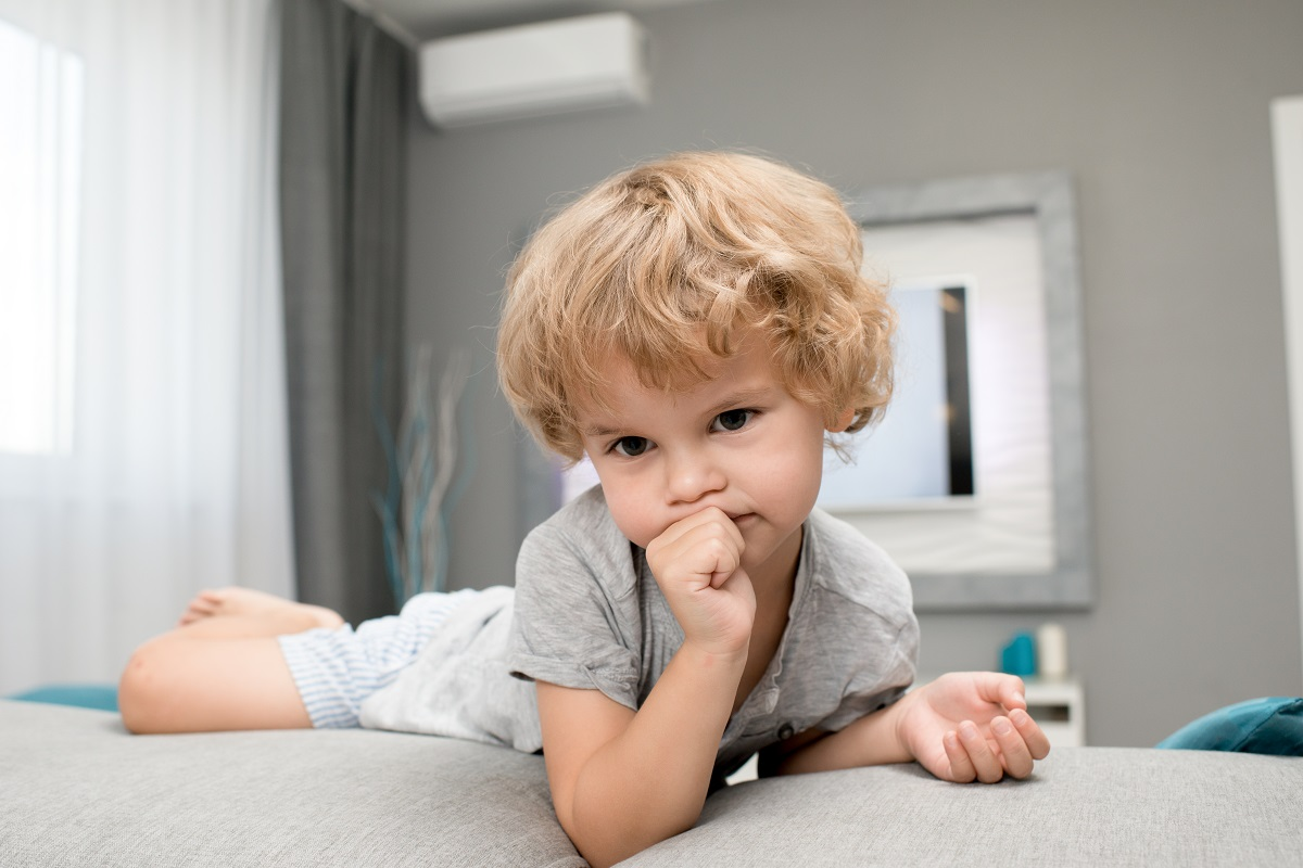 Adorable Little Boy Sucking Thumb