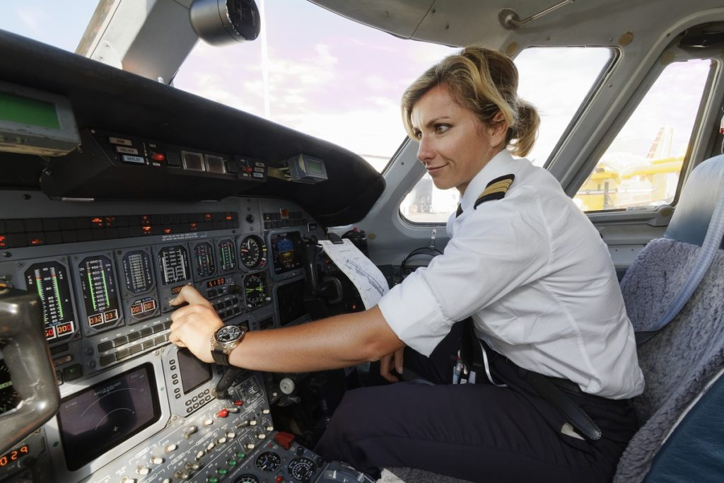 woman pilot in the cockpit
