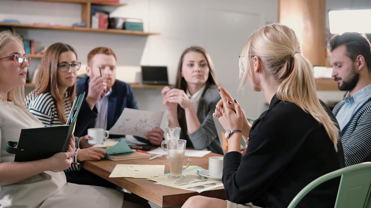 team at a business discussion