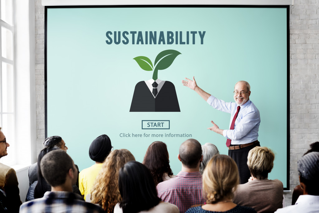 sustainability discussion in the office